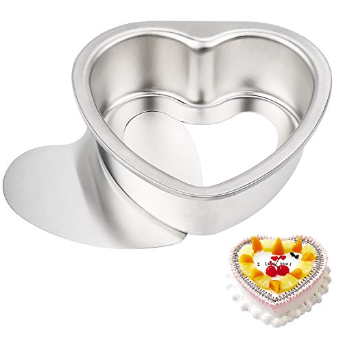 ATUIO - Molde para Pasteles, Antiadherente de Aluminio Profundo en Forma de Corazón de 6 Pulgadas con Fondo Extraíble, Adecuado para Bodas/Cumpleaños para Hornear Pasteles de Amor