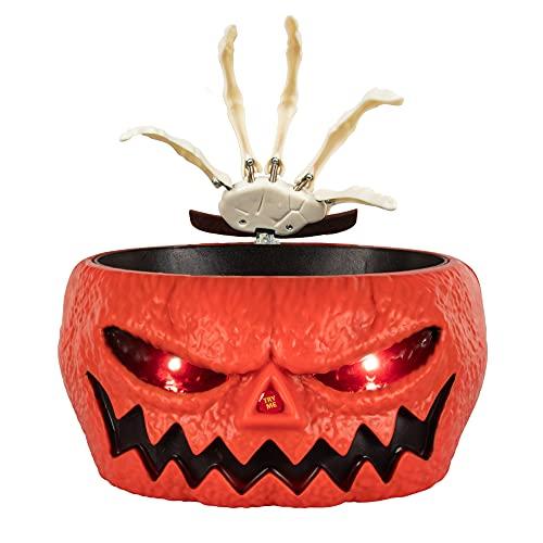 KI Store Halloween Dulces Esqueleto de Calabaza Animado Fantasma Soporte para Cuenco de Dulces con Ojos LED Brillantes para casa embrujada la decoración más aterradora para Halloween