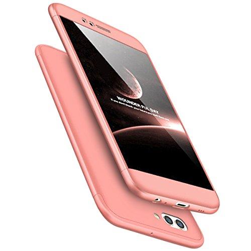 Urhause Funda Compatible Huawei Honor 6X.KunyFond Carcasa Original PC 360 Grados Silicona 3 en 1 Frontal Trasera Doble Pantalla Plastico Estuche Rigido Telefono Amortiguacion Dura Bumper-Oro Rosa