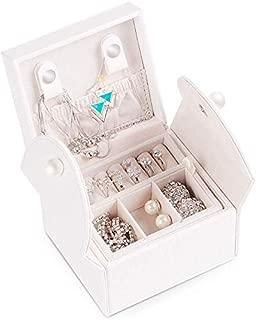 Cute Jewelry Box Korea Creative Storage Box Portable Jewelry Box Necklace Box (Color : White)