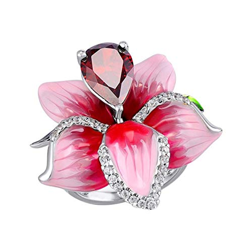 osyare Moda Mujer Imitación Rubí con Incrustaciones De Flores Colgante Collar De Cadena Pendientes Anillo Regalo De Joyería para Fiesta Anillo US 10