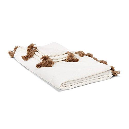 Loberon Plaid Breana, Baumwolle/Polyester, H/B ca. 170/130 cm, Creme