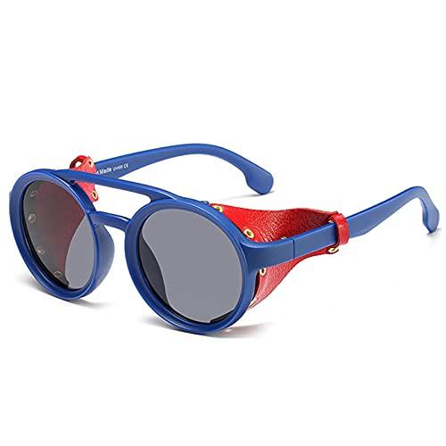 MAOXING Gafas De Sol De Protección Ocular Steampunk para Hombre, Gafas De Sol Redondas con Visera Lateral De Cuero De Moda para Mujer Azulnegro