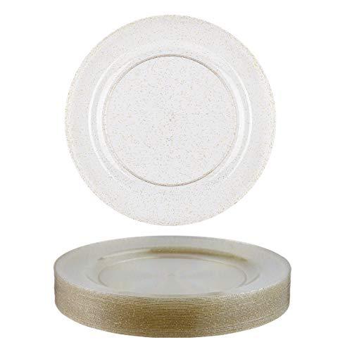 clasificación y comparación 25 láminas de plástico duro desechables, transparentes, brillo dorado 26cm |  Reutilizable,… para casa