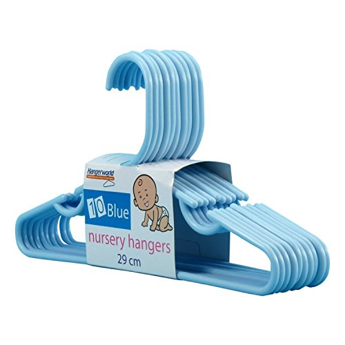 Hangerworld 20 Perchas 29cm para Niños y Bebés Plástico Azul con Barra y Muescas Pantalón Vestidos