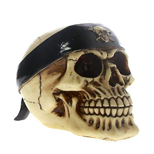 Inveroo Crâne De Collection Gothique 3D avec Bandeau Figurine Statue Gang Biker Sports Halloween Steampunk Décoratif Rave Cyber Goth Craft