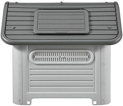 [en.casa] Niche PVC avec Trou d'Aération Gris et Noir 87 x 72 x 75,5 cm