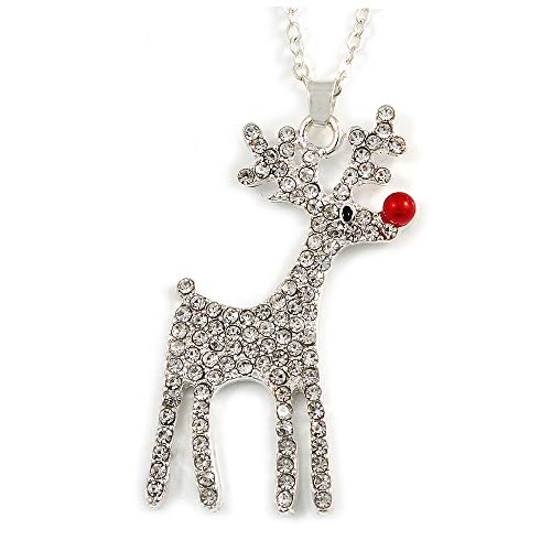 Avalaya Christmas Clear Crystal Reindeer Pendant with Silver Tone Chain - 40cm L/ 5cm Ext