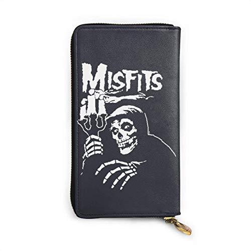 BGHYT Misfits American Psycho Wallet, RFID Blocking Money Organizadores Cartera Zip Business Monedero Grande de Cuero Genuino
