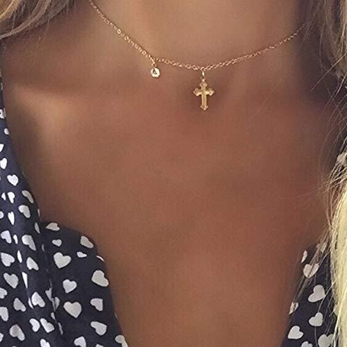 TseenYi Collar con colgante de cruz, cadena de cristal dorado, gargantilla de cadena corta, collar de religión para mujeres y niñas