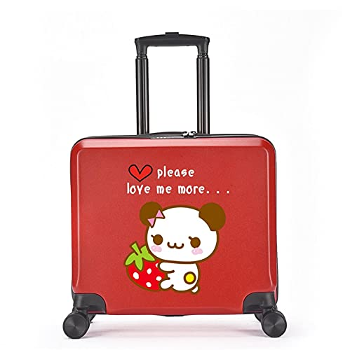 FGHHJ Equipaje para niños de 18 Pulgadas, Muchacha, niña, pequeña Maleta, Equipaje de Viaje con 4 Ruedas, cartón, Carcasa Dura, Peso Ligero,Red Panda