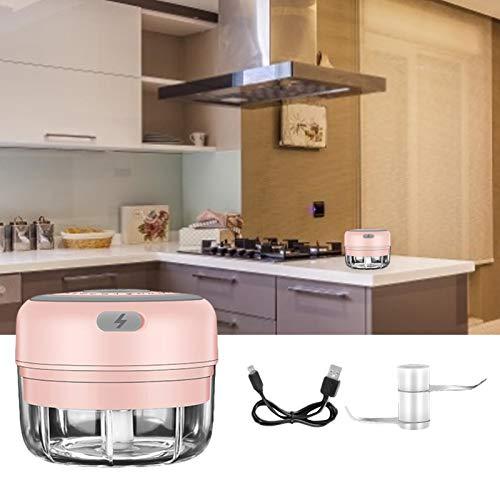 Mini cortador eléctrico de ajos, cortador de alimentos y picador, triturador portátil de cocina mini picadora de alimentos para pimienta, chile, frutos secos, carnes (250 ml y 100 ml)