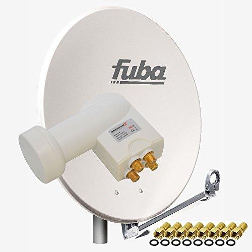 Fuba DAL 800 G Satellitenantenne 80cm Alu Grau Sat Schüssel + PremiumX LNB Quad PXQS-SE Weiß Quattro Switch zum Direktanschluss von 4 Teilnehmer Digital HDTV Full HD 3D + 8X F-Stecker