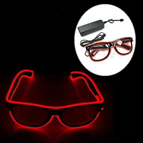EL Wire Neon Rave Brille Leuchten Blinkende Led Sonnenbrille Kostüme Für Festivals, Party, EDM, Halloween, Club, Bar, Tanz, Shows, Geburtstagsgeschenk (Rot)