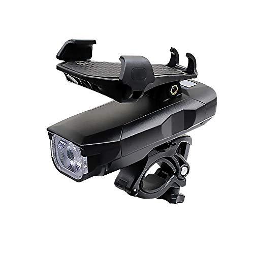 Luz de Bicicleta, Soporte Para TeléFono MóVil, Carga USB, Altavoz de Luz Frontal Impermeable LED SúPer Brillante, FáCil de Instalar, Tres Modos Adecuados Para Todas Las Bicicletas