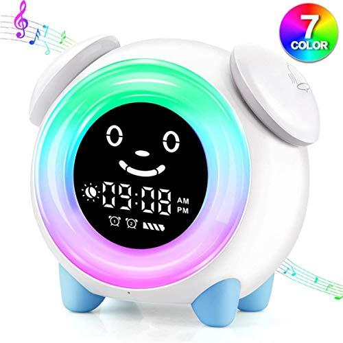 ZJH Wecker for Kinder, LED-Elektronik Alarm Wake-Up-Lampe Uhr, mit 7 Farben Nachtnachtlicht