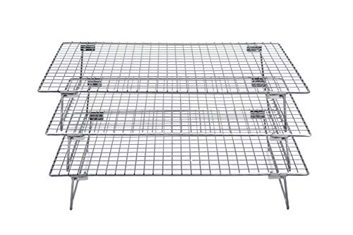 Checkered Chef Stainless Steel Stackable Cooling Racks - 3 Pack Stacking Cooling/Baking Racks - Each Rack 10 x 15' - Tiered Cooling Rack for Cooking, Cooling and Baking - Oven and Dishwasher Safe