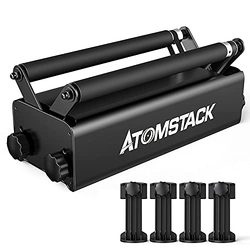 ATOMSTACK R3 Laser Rotary Roller, Laser Engraver Y-axis Rotary Roller Engraving Module for Engraving Cylindrical Objects Cans with 8 Angle Adjustment for Different Size
