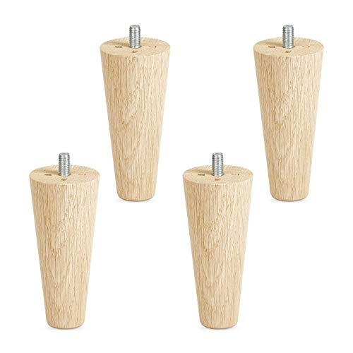 4er Set Möbelfüße Eiche roh H 100 mm/konisch Ø 45/25 mm mit Gewindestift M8 von Sotech