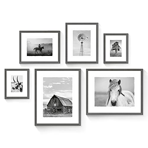 SunFlax Farmhouse Picture Framed Wall Art - 6 Pieces Country View and Farm Animals Prints with Black Wooden Frames for Bathroom  Living Room  Bedroom  Office