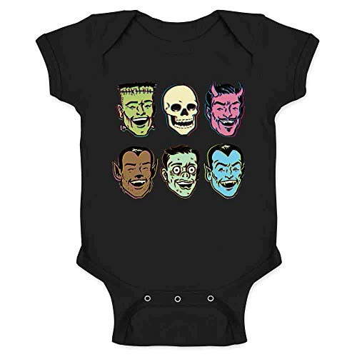 Pop Threads Retro Monster Party Zombie Halloween Costume Black 6M Infant Baby Boy Girl Bodysuit