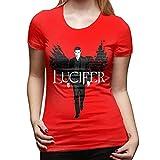Lucifer Morningstar T-Shirt King of Hell T Shirt Green Street Style Women Tshirt Funny Oversize Cotton Ladies Tee Shirt-Red,XL