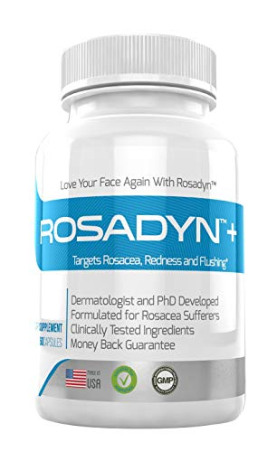 Rosacea Treatment Supplement by Rosadyn | Relief for Face & Nose Redness, Acne and Red Eyes | Works Internally Unlike a Cleanser Wash, Moisturizer, Cream or Other Skin Care Products| Natural (1)