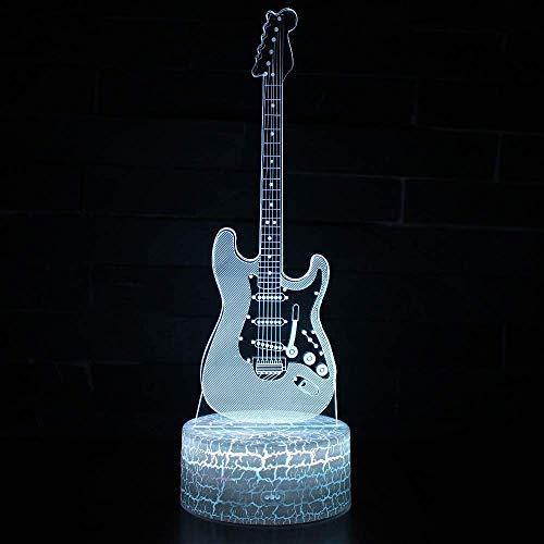 Instrumento musical Guitarra Lámpara de ilusión 3D Luz de noche 3D para niños Niñas Lámpara de mesa de escritorio 16 Cambio de color Lámpara de decoración Regalos Festival de cumpleaños Navidad p