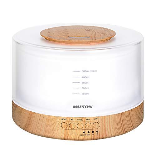 1台4役 MUSON(ムソン) 加湿器 超音波式 アロマディフューザー 大容量500ML 癒し音楽内蔵 安眠グッズ ナイトライト 間接照明 ベッドサイドランプ 電球色/明るさ調整可 タイマー 空焚き防止 手入れ簡単 花粉対策 乾燥防止 雰囲気作り 寝室 子供部屋 木目調 おしゃれ [実用新案登録済み、PSE認証取得、メーカー1年保証] ホワイト