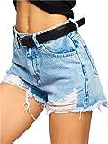 BOLF Mujer Pantalón Corto Vaquero Jeans Denim Shorts Bermudas Pantalón de Algodón Pantalón de Ocio Corto Rotos Tejano Verano Slim Fit Estilo Urbano JK810 Azul XL [G7G]