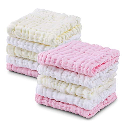 Baby Musselin Waschlappen, Weiche Neugeborene Baby Gesichtstücher, Mehrzweck-natürliche Baumwolle Baby Wipes (10 PACK A) (Pink, 10-1) (10 PACK A)