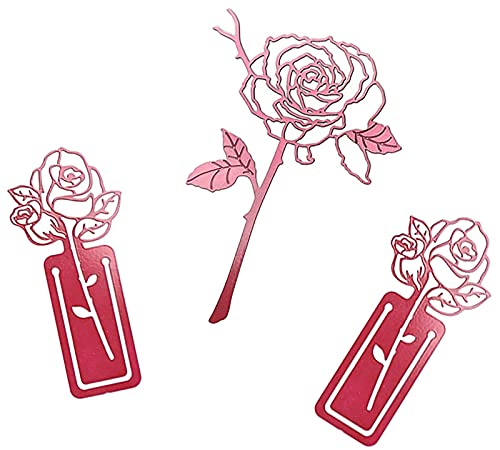 ASFINS Segnalibro Vintage, 3 pezzi Segnalibri Metallo Forma di Rosa Segnalibro, per Festa di Compleanno, Ufficio, Scuola, Forma a Rosa, Rosso