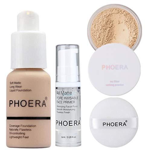PHOERA 30ml Fond de Teint Couvrant Liquide Couverture Complète Foundation Correcteur (Nude #102) avec 6ml Apprêt de maquillage pour le visage & Loose Powder