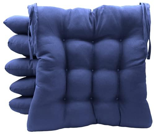 TIENDA EURASIA® Pack 6 Cojines para Sillas de Terraza - Funda de 100% Loneta Lavable y Relleno de Fibra Hueca Siliconada Acolchada - 40 x 40 x 5 cm (Azul Marino)