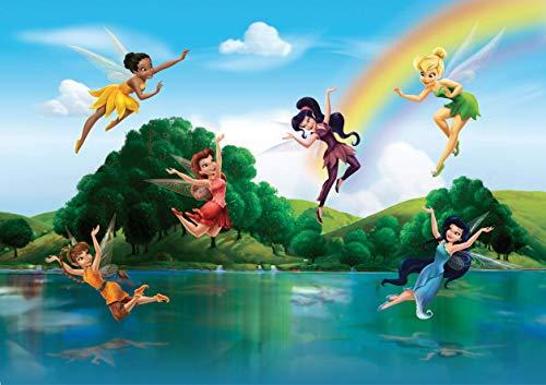 AG Design FTD 2222 Disney Fairies Feen, Papier Fototapete - 360x254 cm - 4 teile, Papier, multicolor, 0,1 x 360 x 254 cm