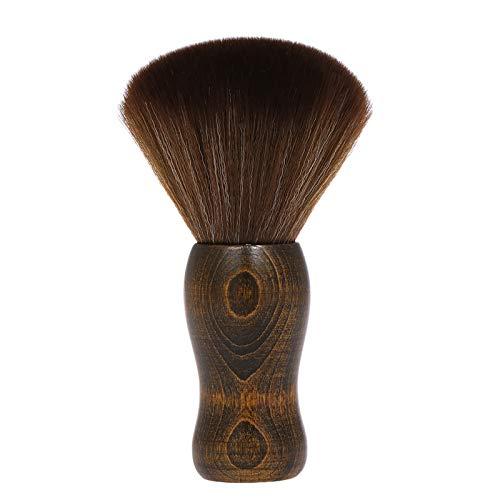 Leeofty Soft Barber Neck Face Duster Brush cleaning Hairbrush Hair sweep Brush Salon Household Hair cleaning Brush Nylon Hair Wooden Handle