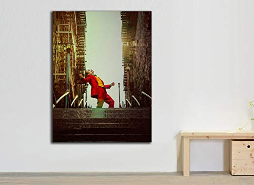 Cuadro Lienzo Joker Cartel pelicula 2019 - Lienzo de Tela Bastidor de Madera de 3 cm - Fabricado en España - Impresión en Alta resolución – Varias Medidas (37, 50)
