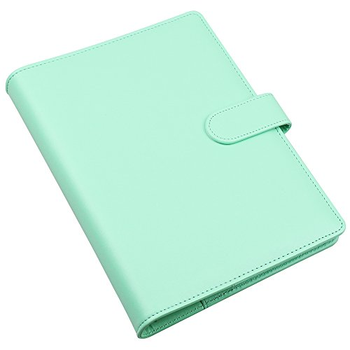 Cuaderno de piel sintética tamaño A5, rellenable, 6 anillas, redondo, para papel de relleno, diario de viaje,funda para diario con hebilla magnética, color Robin's Egg Blue