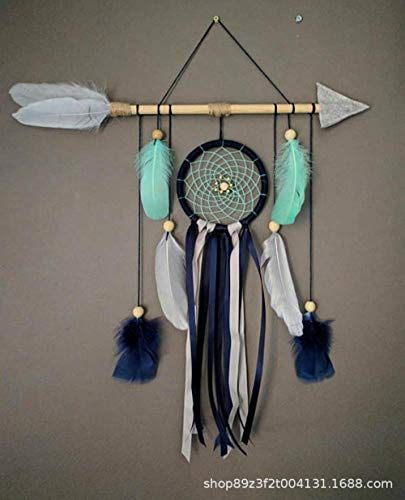 Dreamcatcher,Bohemian Handmade Bow And Arrow Black Single Ring Lace Green Feather Wall Hanging Decorations For Kids Room Home Decoration Ornaments Craft Gift