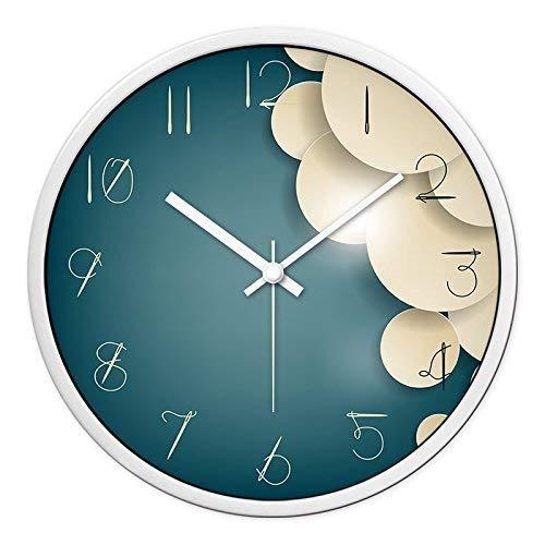Yeeseu Reloj de pared de decoración for el hogar azul nubes nubes mudo es un sitio de la oficina restaurante familiar es ideal for cualquier habitación de 14 pulgadas, blanco-caja blanca (color: -, Ta