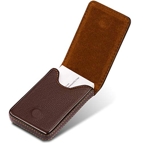 MaxGear Leather Business Card Holder, Business Card Case for Men or Women, Pocket Business Card Holder Business Card Wallet Leather Name Card Holder with Magnetic Shut, Coffee
