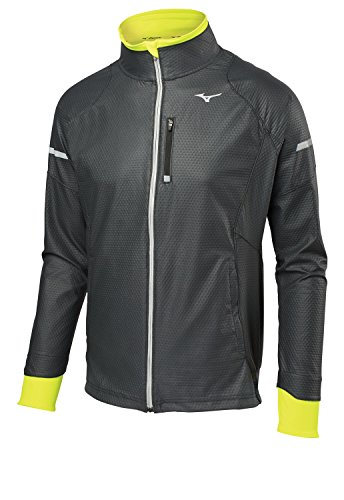 Mizuno Running Men's Static Breath Thermo Softshell Jacket, Black/Yellow, Medium
