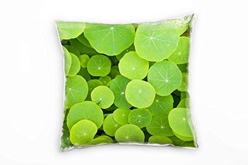 Paul Sinus Art Natur, groen, ronde bladeren decoratief kussen 40x40cm voor bank bank bank lounge sierkussen - decoratie om je goed te voelen