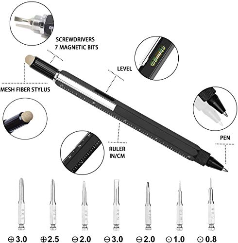 Multi Function pen, Multitool Pen with Stylus,11 in 1 Pen Screwdriver, Penyeah Screwdriver Pen Pocket Multi-Tool with Phillips Screwdriver Bit,Bubble Level,Pen Combo for Man Christmas Gift Ideas