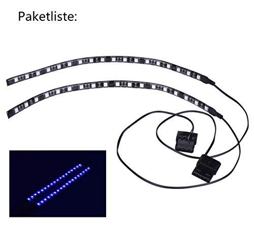 Miwatt 2X30cm LED-Streifen im Inneren des PC-Gehäuses zum Nachrüsten des PC-Gehäuses, Molex-Netzteil, Rückseitenmagnet, (blau)