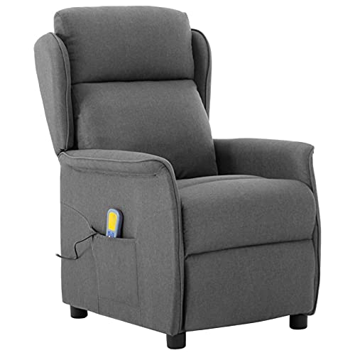 Susany Sillón reclinable de Masaje de Tela Gris Claro Sillón Masaje Relax Sillones y chaises Longues Sillones reclinables de salón