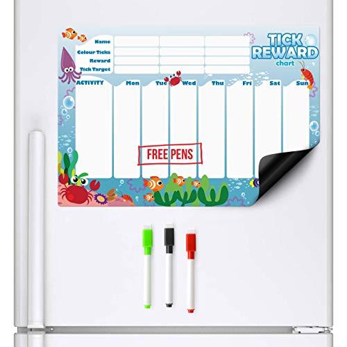 CKB Ltd Ocean Creatures FRIDGE BOARD Grafico ricompensa ricompense e responsabilità per bambini 7 Giorni Colorato Tick List per frigoriferi il frigo   Lavagna Magnetica Magnetico Per Frigorifero