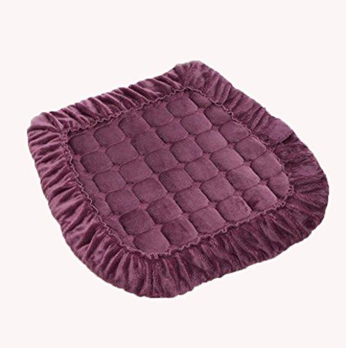 Coussin KKY-Enter Violet Couleur Unie Coton Doux Confortable Respirant Fesses Étanche à la poussière Antibactérien Bande Fixe Tapis de Chaise Rigide Tapis de Chaise Épaisseur: 0.4cm Taille: 40 * 40cm
