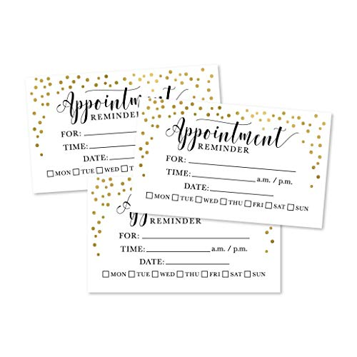 50 Gold Confetti Appointment Reminder Cards, Next Apt. With Medical Doctor, Dental, Salon, Therapy, Dog Grooming, Cleaning Business, Custom Personalized Blank Recall Service Reminder Notes