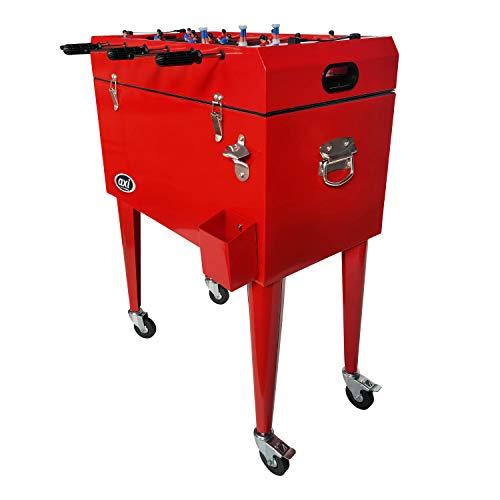 AXI Retro Getränkekühler in Rot mit Tischkicker / Kickertisch / Tischfußball | Kühlwagen / Kühler mit Rollen - 65 liter | Fahrbare Kühlbox für den Garten / Outdoor